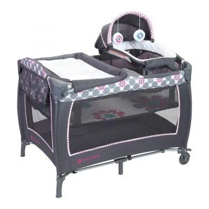 Baby Trend Grey Lil Snooze Deluxe II Nursery Center/Playpen Daisy Dots