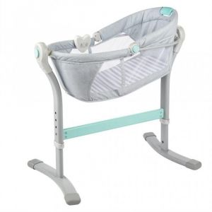 Summer Infant Teal & Grey Stripe By Your Bed Baby Sleeper Cot