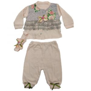 3pcs Girls Pajama Set Beige