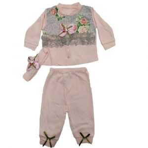 3pcs Girls Pajama Set Pink