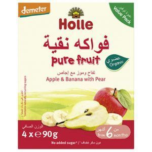Holle Multi-pack Pouch Aplle & Banana with Pear Baby Food -90g x 4pcs