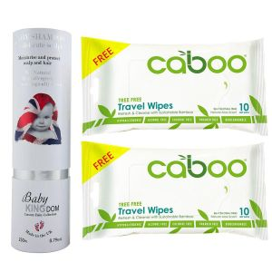 Baby Kingdom Shampoo 250 ml + Free 2 pcs Caboo Travel Wipes 10ct