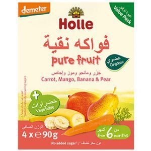 Holle Multi-pack Pouch Carrot, Mango, Banana & Pear Baby Food - 90g x 4pcs