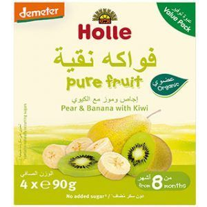 Holle Multi-pack Pouch Pear & Banana with Kiwi Baby Food - 90g x 4pcs