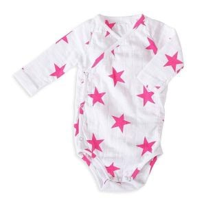Aden+Anais Pink Star Long Sleeved Bodysuit Medium