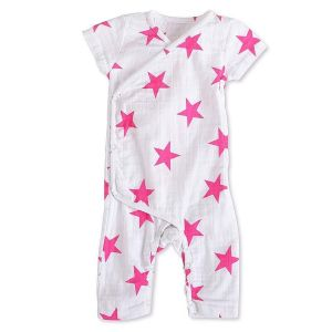 Aden+Anais Pink Star Short Sleeved Kimono One Piece Medium