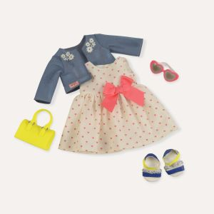 Our Generation Kid's Deluxe Heart Print Dress Outfit