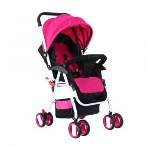 Baby Plus Stroller Cum Pram with Canopy - Pink
