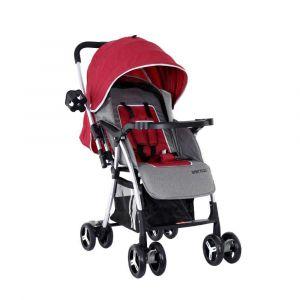 Baby Plus Stroller Cum Pram - Red & Grey