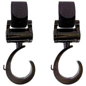Bebewing Black Multi Purpose Heavy Duty 360 Swivel Hooks - 2pcs
