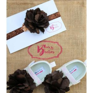 Bows & Booties Matching Headbands & Baby shoes - Desert Brown