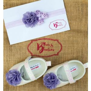 Bows & Booties Matching Headbands & Baby shoes - Lavender Love