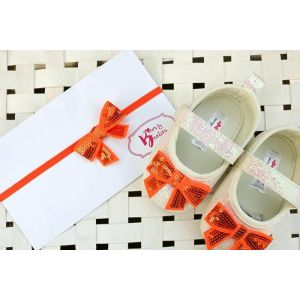 Bows & Booties Matching Headbands & Baby shoes - Orange Bow