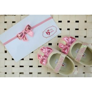 Bows & Booties Matching Headbands & Baby shoes - Pink Bow