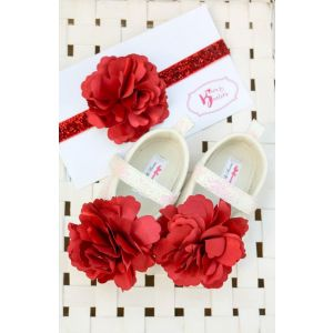 Bows & Booties Matching Headbands & Baby shoes - Scarlet