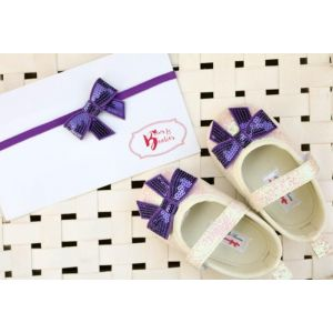Bows & Booties Matching Headbands & Baby shoes - Violet Bows