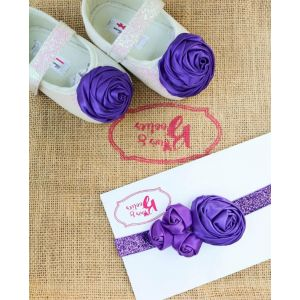 Bows & Booties Matching Headbands & Baby shoes - Violet Rose