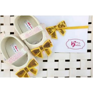 Bows & Booties Matching Headbands & Baby shoes - Yellow Bow