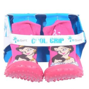 Cool Pink Princess Grip Baby Shoe Socks -Size 22