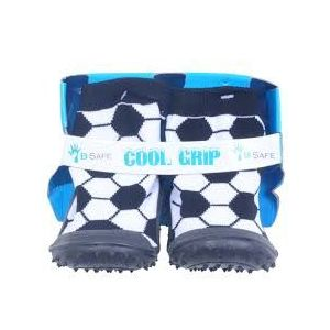 Cool Black Soccer Ball Grip Baby Shoe Socks -Size 19