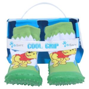 Cool Green Winnie The Pooh Grip Baby Shoe Socks -Size 20