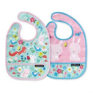 Crocodile Creek Backyard Friends Bib with Travel Pouch - 2pcs