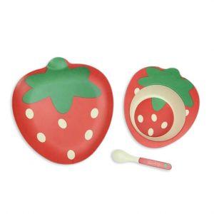 Eazy Kids Bamboo Fibre Dinner Set - Strawberry - 5 Pieces