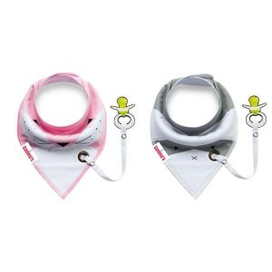 Eazy Kids Pink/Grey Bandana Drool Bibs Set of 2