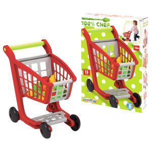 Ecoiffier 100% Chef Garnished Supermarket Trolley 13Pcs Toy