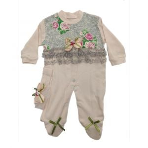 Fancy 2pc Girls Overall Beige
