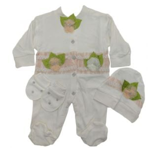 Fancy 2pc Girls Overall White