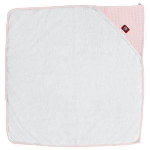 Cuddledry White with Pink Edge Handsfree Baby Bath Towel