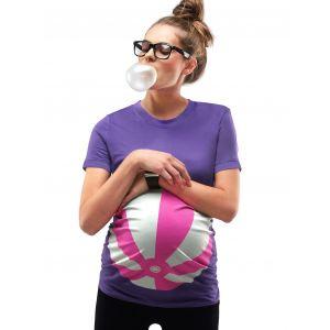 Mamagama Purple Beach Ball Maternity T shirt