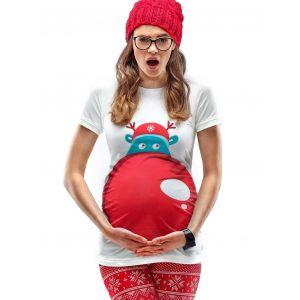Mamagama Rudolph's Nose Maternity Christmas T-shirt