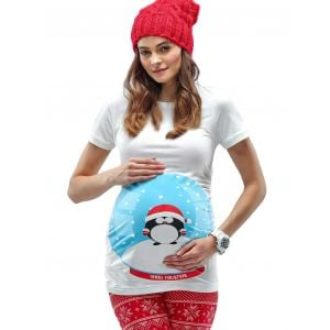 Mamagama Snow Globe Maternity Christmas T-shirt