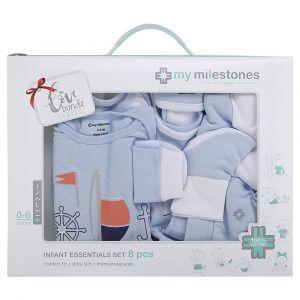 My Milestones Blue Full Sleeves Infant Clothing Gift Set -  8pc