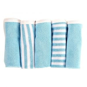 My Milestones Blue 100% Premium Cotton Terry Baby Washcloth Set - 5pc