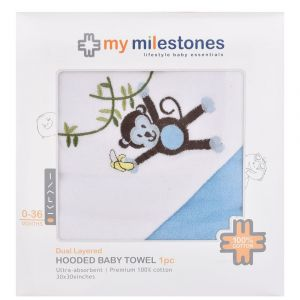 My Milestones 100% Cotton Terry Hooded Baby / Toddlers Bath Towel - Blue Solid