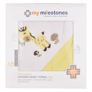 My Milestones 100% Cotton Terry Hooded Baby / Toddlers Bath Towel - Lemon Yellow Solid