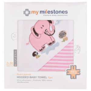 My Milestones 100% Cotton Terry Hooded Baby / Toddlers Bath Towel - Pink Stripes