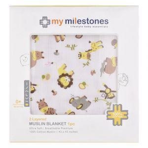 My Milestones Muslin Baby 2 Layered Blanket - Zoo Lemon Yellow