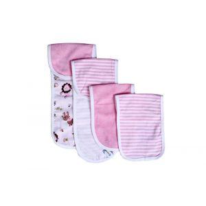 My Milestones Pink 100% Cotton Terry Muslin Baby Burpy Bib Set - 4 Pcs