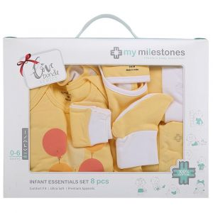 My Milestones Yellow Full Sleeves Infant Clothing Gift Set -  8pc