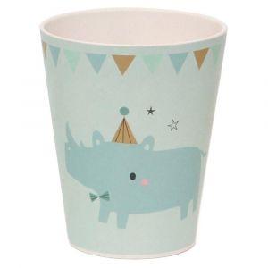 Petit Monkey Rhino Blue Bamboo Cup