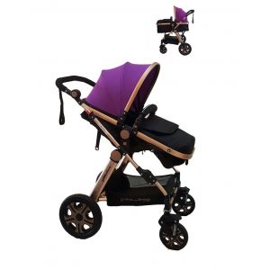 Pikkaboo Baby Stroller With Purple Canopy - 2 In 1
