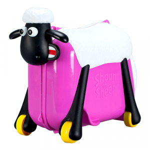 Zinc Shaun The Sheep Ride On Suit Case - Red Rose