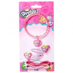 Shopkins Hair Accessory Set (Bracelet + Hair Clip + Pony Bands) Pink