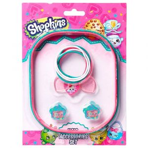 Shopkins Hair Accessory Set (Pony Band Big + Pony Band Small + Hair Claws) Green & Pink