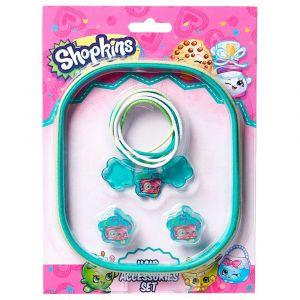 Shopkins Hair Accessory Set (Pony Band Big + Pony Band Small + Hair Claws) Green & White