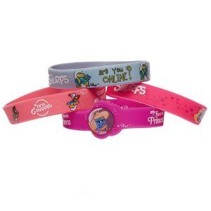 Smurfs Grey & Pink Silicone Band - 4pcs